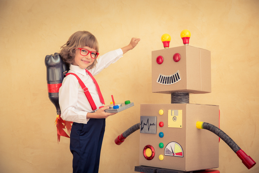 Young businessman with robot